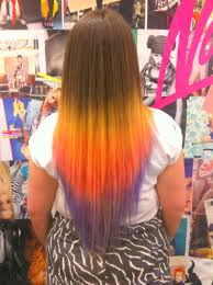 Yellow Purple Ombre Dip Dyed Rainbow