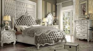 Romantic Hollywood Swank Bedroom Set With King Size Wooden Bed Frame, White  Painted Carving Wooden