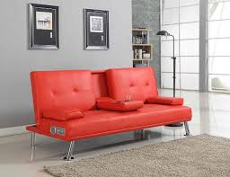 red leather sofa bed for elegant bluetooth cinema sofa bed with drink cup holder table faux