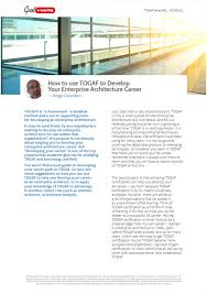Is Architecture A Good Career using togaf to develop your enterprise architecture  career | good