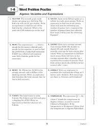 algebra word problem worksheets with answer key algebraic expressions problems evaluating worksheet pdf