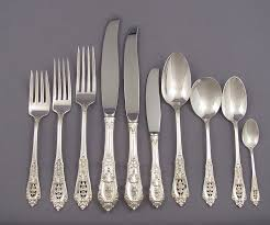 wallace rosepoint sterling silver flatware set for 10