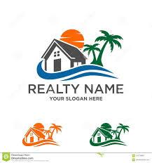 Beach House Logo Design Beach House Real Estate Construction Logo Stock Vector