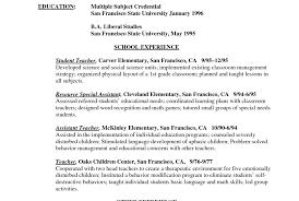 Resume Resume Simple Elementary Teacher Resume Template With