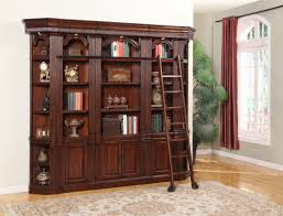 House Wellington Library Bookcase Wall with Ladder in Brown Mahogany