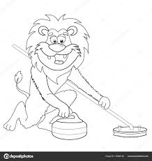 Coloring Book Lion Curling Cartoon Style Isolated Image White
