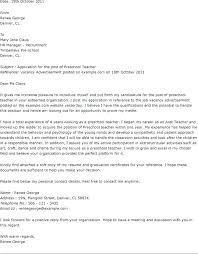 Sample Pre School Teacher Cover Letter Resume Sample Web