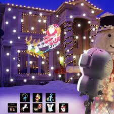 Musical Outdoor Christmas Lights Jeenso Snow Falling Animated Projector Outdoor Halloween Christmas Decorations Led Projection Lights With Music Playback Function And Remote Control