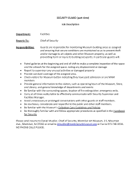 Security Guard Job Description Template Unarmed Resume Skills With