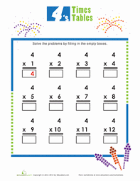 Times Tables 4s Worksheet Education Com