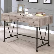 black metal grey wood home office 3 drawer computer writing desk