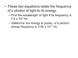 these two equations relate the frequency of a photon of light to its energy