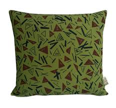 olive green pillows. Abstract Geometric Olive Green Pillow, Cinnamon Triangles Print, Trend Designer With Insert Pillows