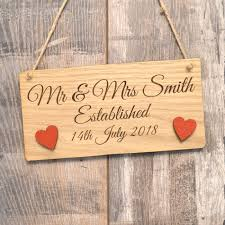 wooden mr mrs personalised wedding gift plaque sign names and date of wedding pretty personalised
