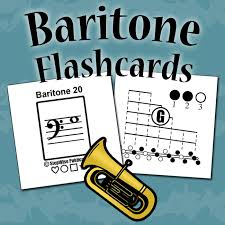 Baritone Finger Chart Treble Clef 3 Valve Baritone Euphonium Fingering Chart And Flashcards