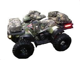 camouflage and black custom fitted atv