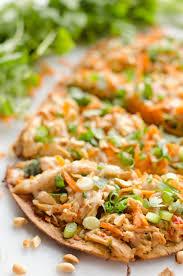 Light And Healthy Dinner Light Thai Peanut Chicken Flatbread