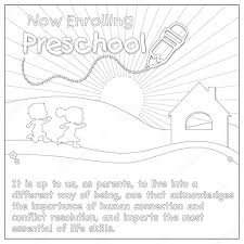Small Picture Kids Running To Schoolhouse Coloring Page Stock Photo smk0473