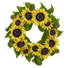h yellow sunflower wreath 4787 the home depot