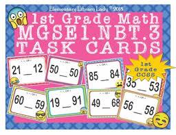 1st Grade Flash Cards Emoji 1st Grade Math Problems Task Cards Flash Cards Georgia Mgse1