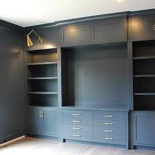home office built ins. Gray Home Office With Built Ins And Brass Swing Arm Sconces C