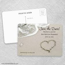 Save The Date No Photo Heart On Beach Save The Date Cards