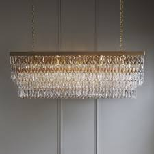 rectangular clear crystal chandelier with gold