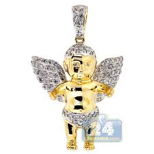 mens diamond baby angel wings pendant
