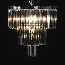 large chrome smoke glass prism drop round cascade chandelier
