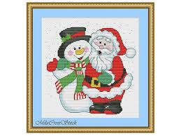 Santa Snowman Funny Christmas Cross Stitch Pattern Modern Embroidery Ideas Xstitch Chart Easy Counted Beginner Colorful Design