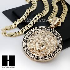 details about hip hop iced out medusa round pendant 24 30 36 cuban link chain necklace n36
