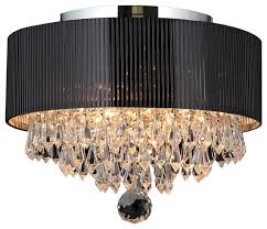 contemporary drum lighting. gatsby 3light crystal flush mount ceiling light with black drum shade chrome contemporary lighting