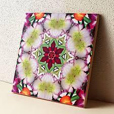 Decorative Tile Coasters Daylily kaleidoscope mandala decorative tile coaster unique ART 41