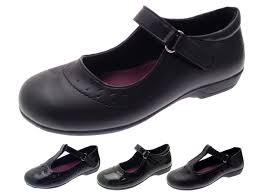 kids girls black school shoes faux leather t bar mary jane shoes size uk 10 2
