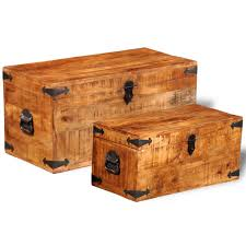 2 pieces mango wood storage chest box trunk coffee side couch table furniture