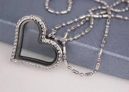 crystal diamond love heart shaped locket necklace customized size fashion style