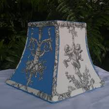 lamp shade chandelier cherubs square bell blue off white black cotton toile style fabric blue