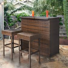 Best Choice Products 3PC Wicker Bar Set Patio Outdoor Backyard Table