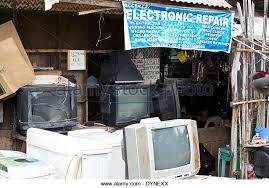 tv repair shop. electronic repair shop in puerto princesa, palawan, philippines - stock image tv e