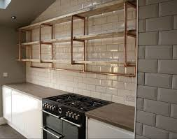Industrial Kitchen Furniture Home Shop Copper Furniture Large 3 Shelf 28mm Copper Pipe
