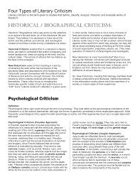 Psychological Criticism Four Types Of Literary Criticism