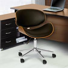 modern office chair leather. Black Faux Leather And Chrome Finish Modern Office Chair