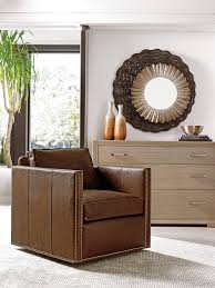 Leather Swivel Chairs For Living Room Shadow Play Hinsdale Leather Swivel Club Chair Lexington Home Brands