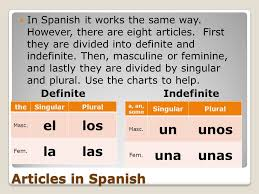 Spanish Singular Plural Chart Articles Definite And Indefinite What Is An Article