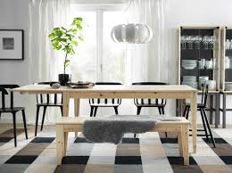 a dining room with nornÄs dining table in pine wood and ikea ps torpet chairs in black love chairs bench with table sheepskin