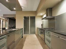 kitchen design apply contemporary galley kitchen design with grey aluminum cabinets