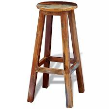 H4home Vintage <b>Antique Style</b> Bar <b>Stool Reclaimed</b> Wood Rustic ...