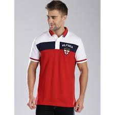 tommy hilfiger red colour block polo t shirt for men