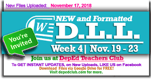 daily lesson log format week 4 3rd quarter daily lesson log nov 19 23 2018 weekly dll