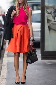 Image result for red and hot pink skirt and top